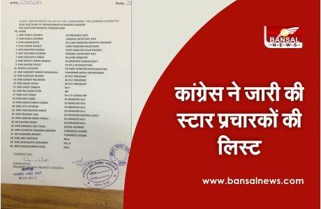 Congress released the list of star pracharak